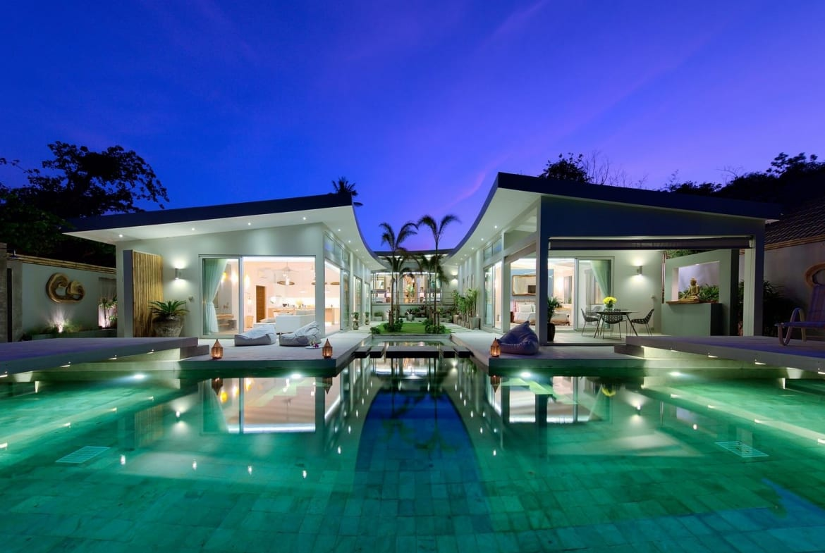 luxury beach front villa with pool for sale koh samui